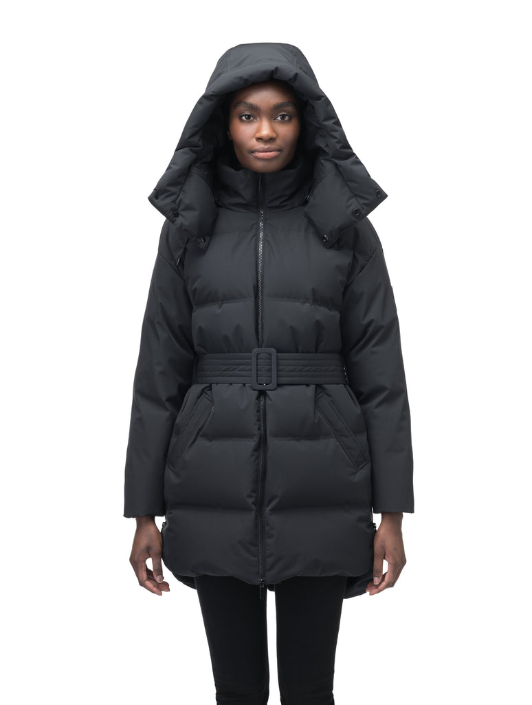 Women's thigh length down parka with removable hood and adjustable belt in Black| color
