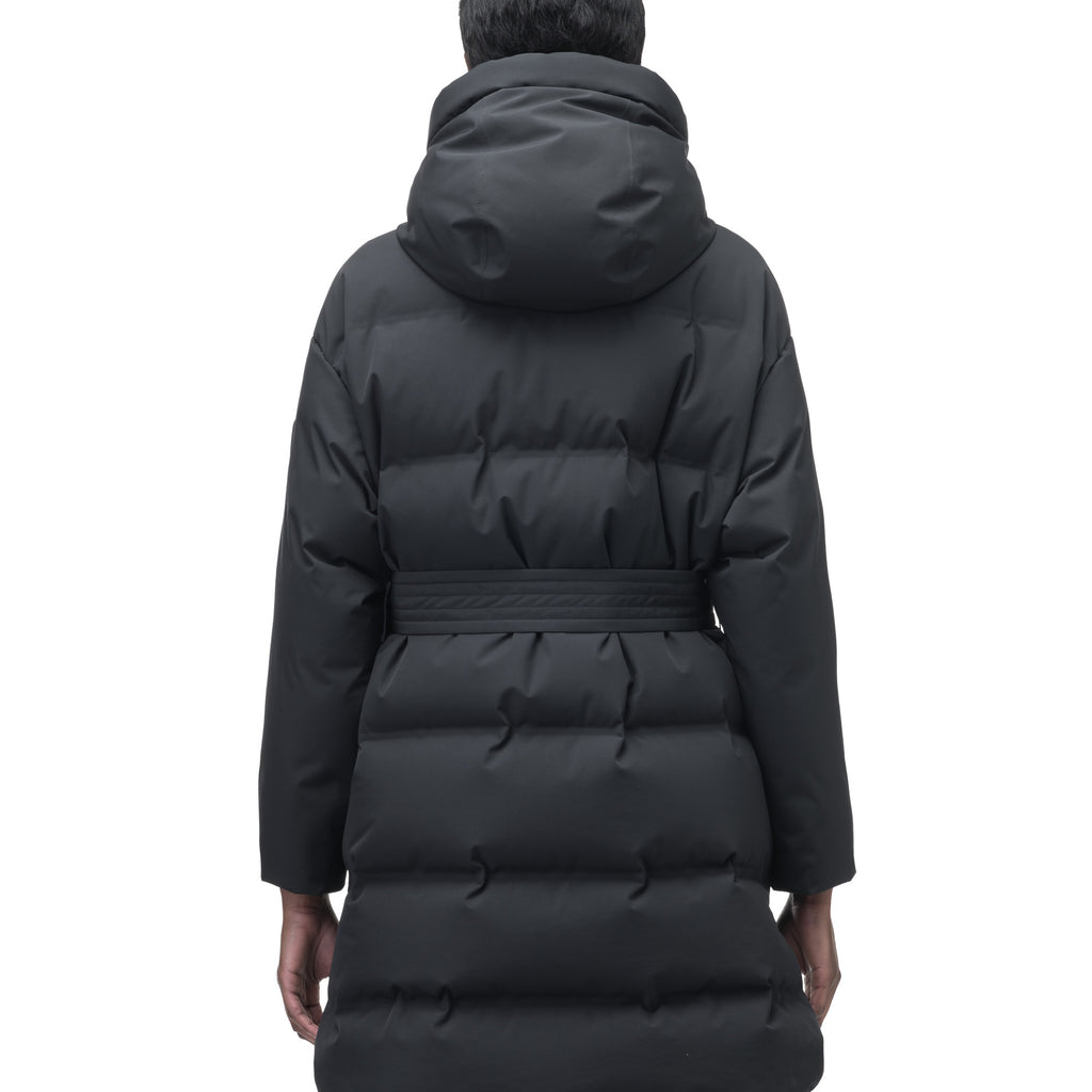 Women's thigh length down parka with removable hood and adjustable belt in Black | color