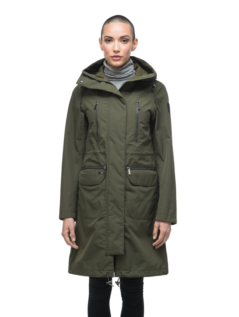Women's knee length anorak with four front pockets and adjustable cord waist in Fatigue| color