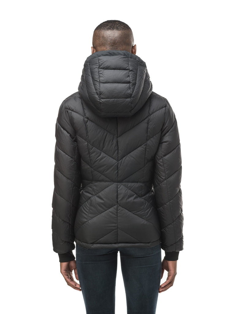 A women's two in one reversible hip length down jacket, one side is quilted and one side is solid waterproof fabric in Black, Burgundy or Fawn| color