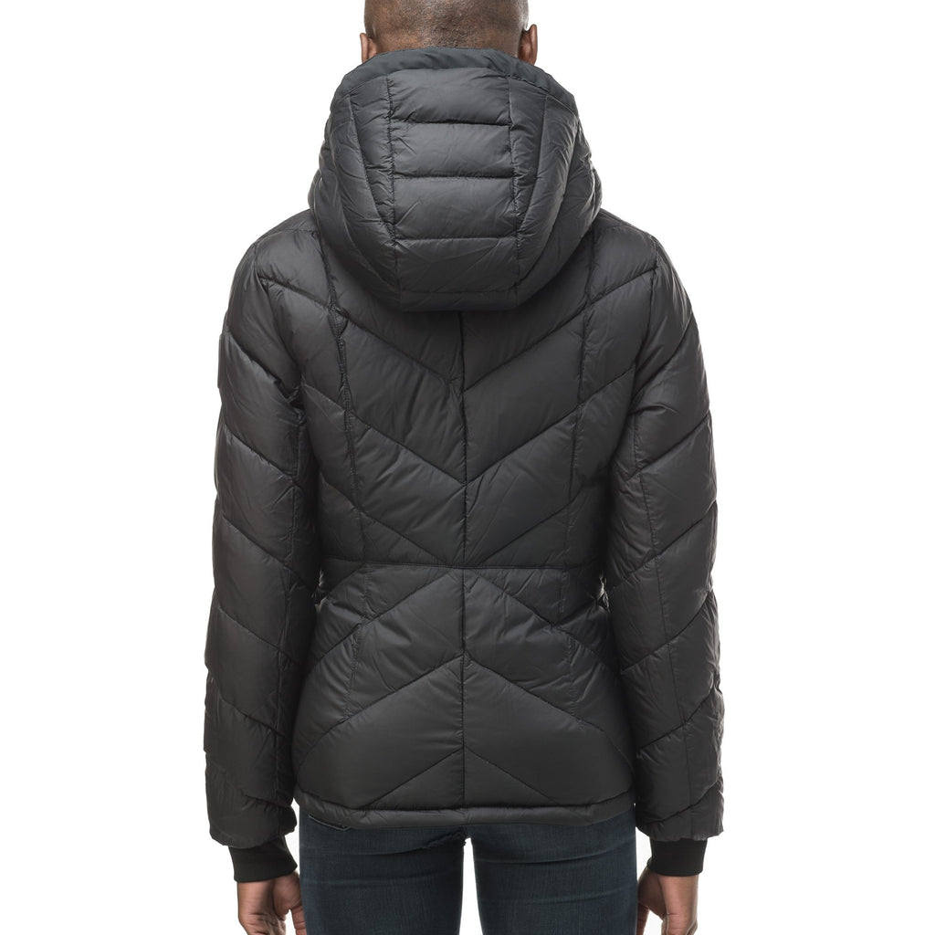 A women's two in one reversible hip length down jacket, one side is quilted and one side is solid waterproof fabric in Black, Burgundy or Fawn | color