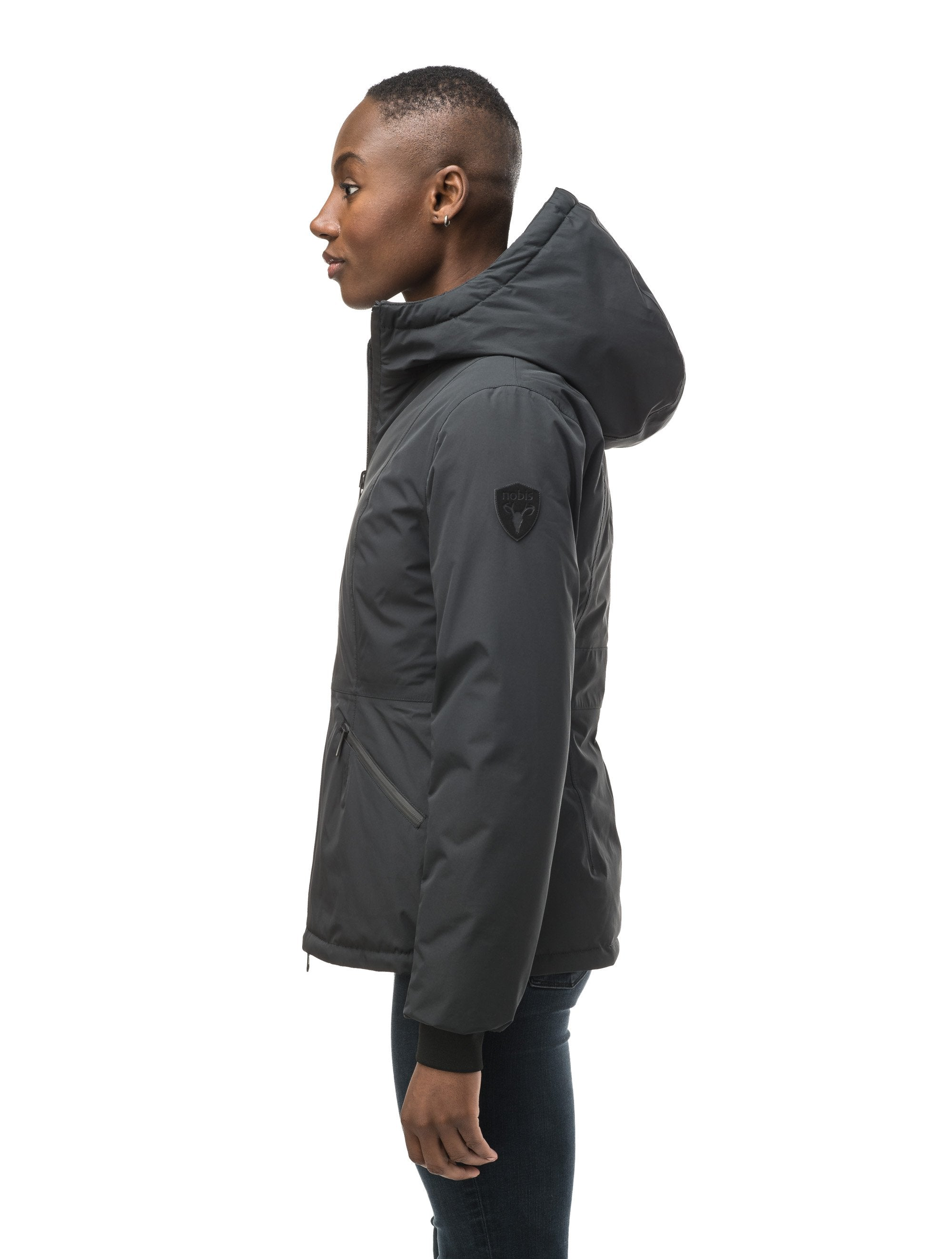 A women's two in one reversible hip length down jacket, one side is quilted and one side is solid waterproof fabric in Black, Burgundy or Fawn