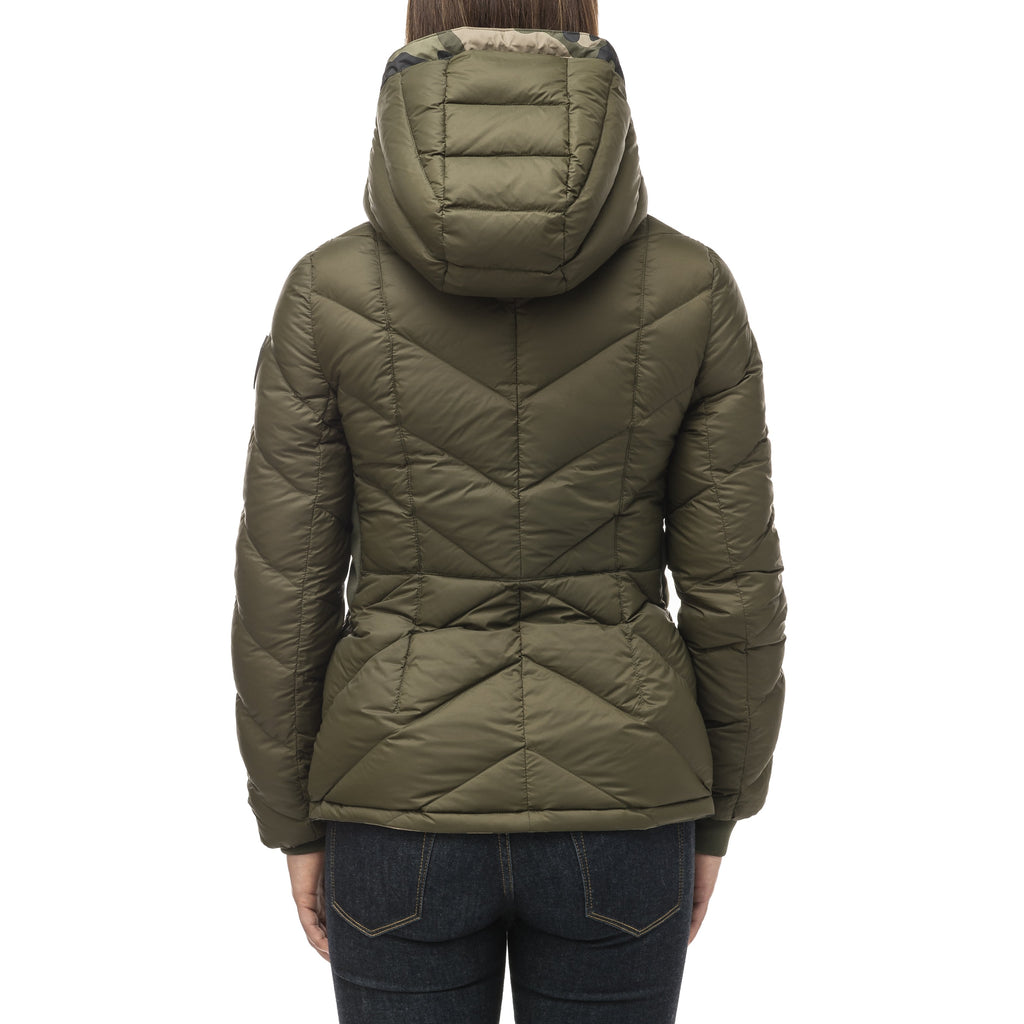 A women's two in one reversible hip length down jacket, one side is quilted and one side is solid waterproof fabric in Camo | color