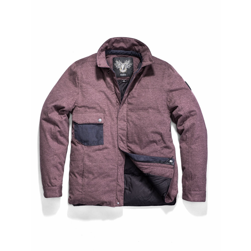 Men's lightweight knit jersey shirt jacket in Maroon| color