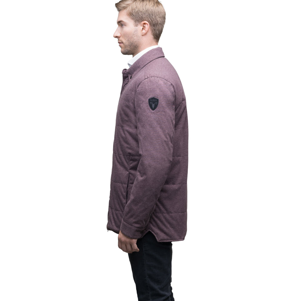 Men's lightweight knit jersey shirt jacket in Maroon | color