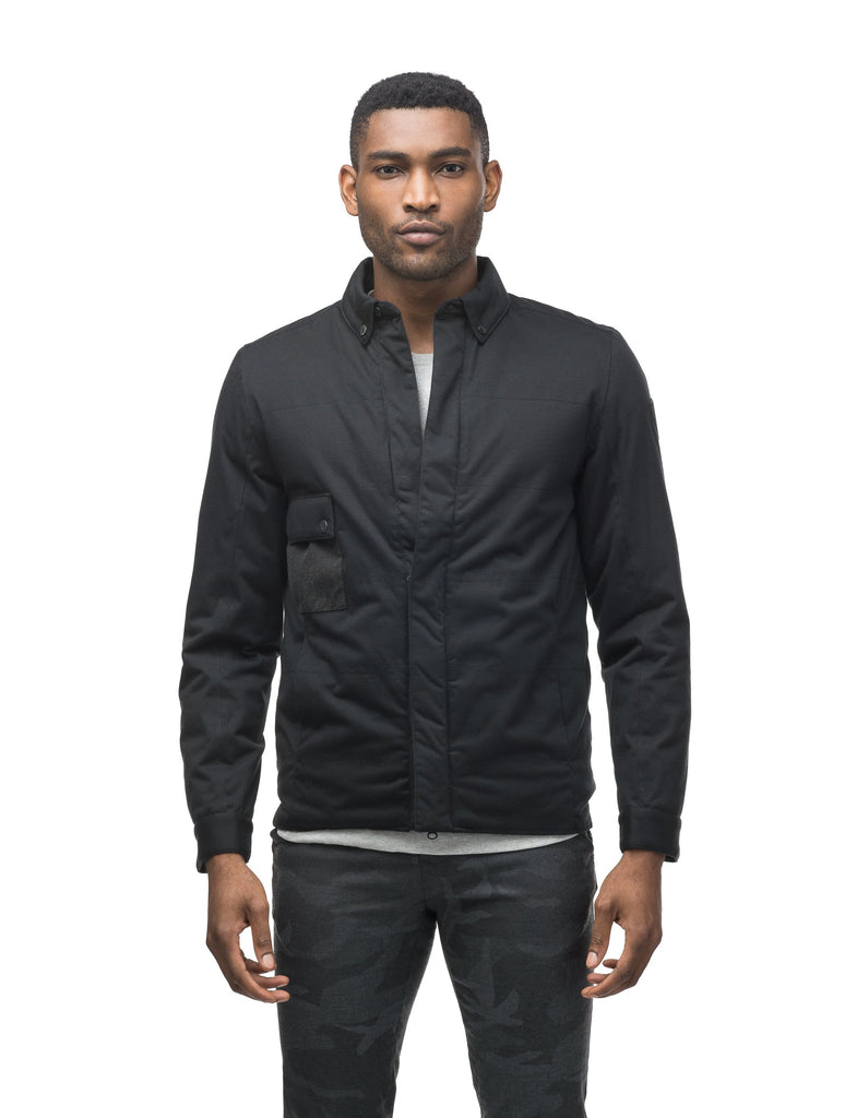 Men's lightweight knit jersey shirt jacket in Black| color