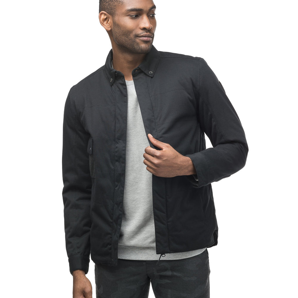 Men's lightweight knit jersey shirt jacket in Black | color