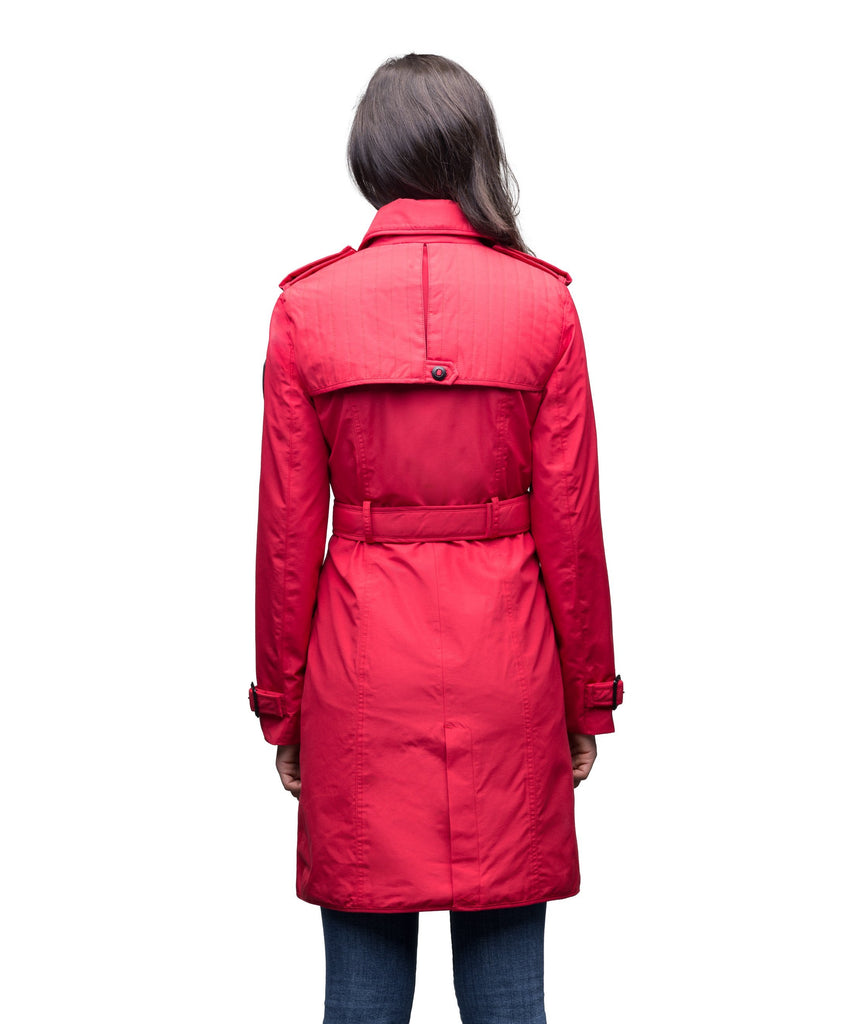 Women's classic trench coat that falls just above the knee in Red| color