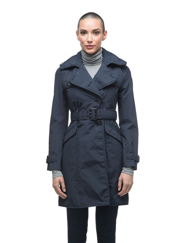 Women's classic trench coat that falls just above the knee in Navy| color