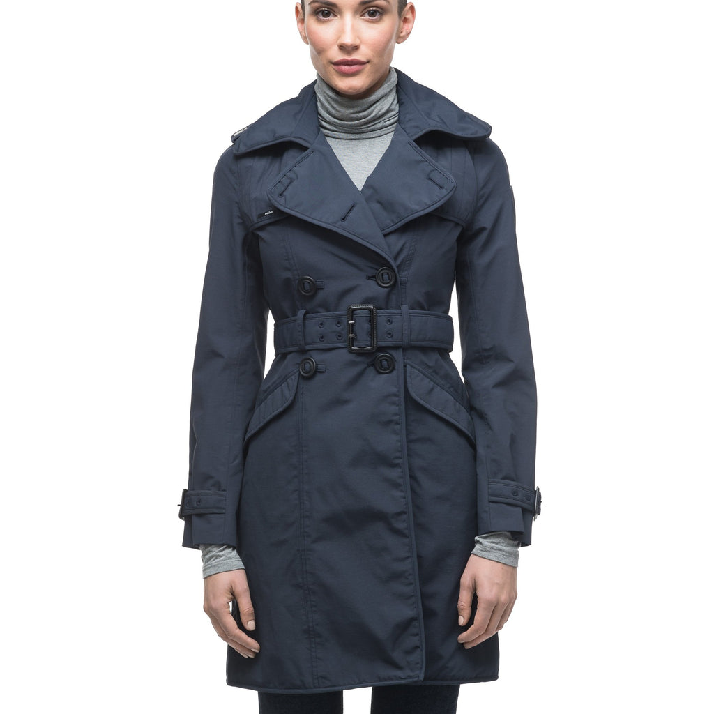 Women's classic trench coat that falls just above the knee in Navy | color