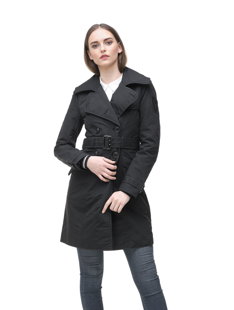 Women's classic trench coat that falls just above the knee in Black| color