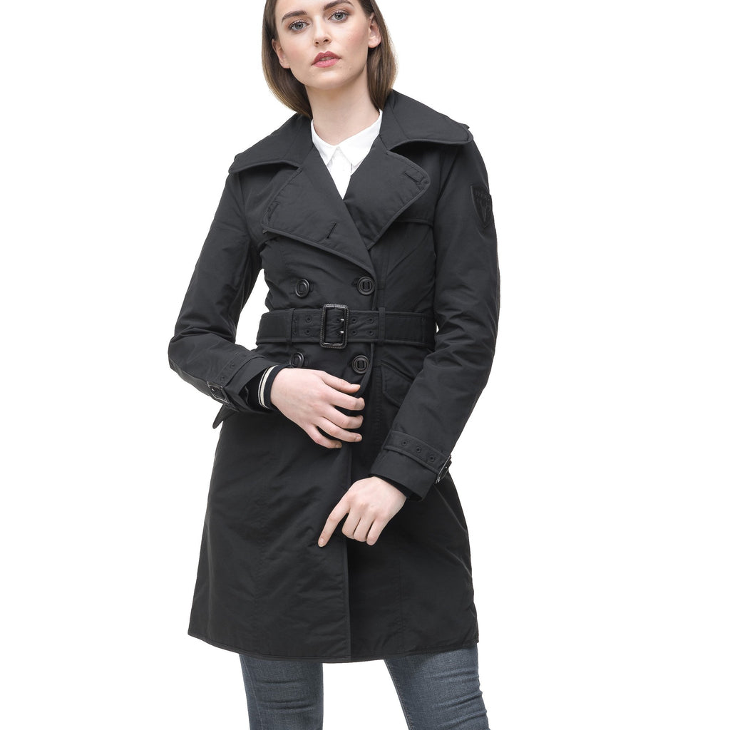Women's classic trench coat that falls just above the knee in Black | color