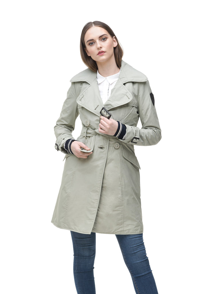 Women's classic trench coat that falls just above the knee in Light Grey| color