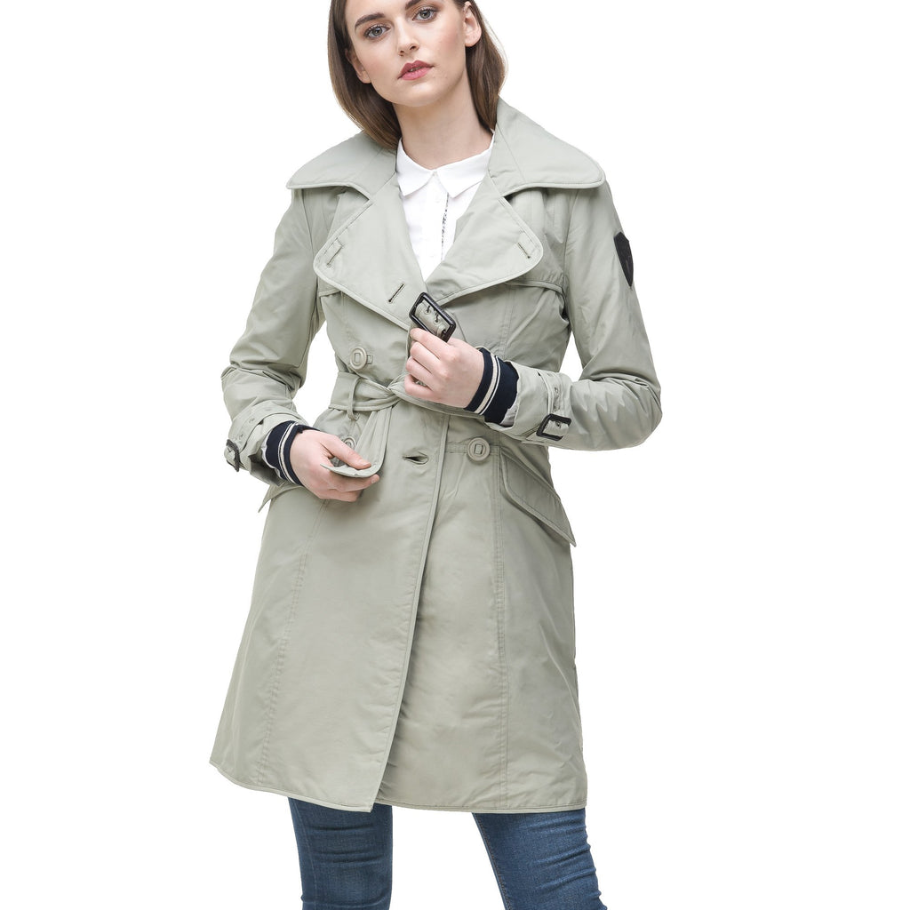 Women's classic trench coat that falls just above the knee in Light Grey | color