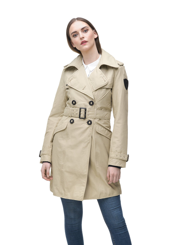 Women's classic trench coat that falls just above the knee in Sand| color