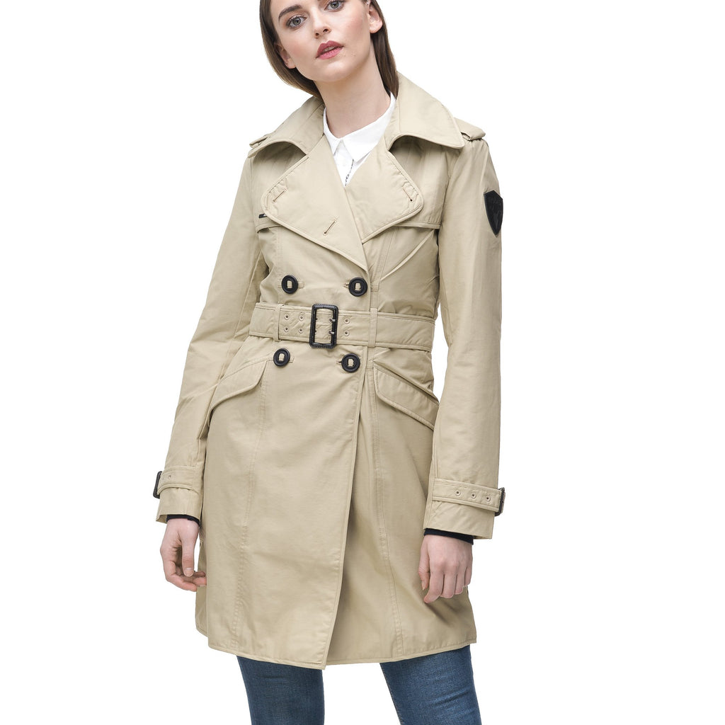 Women's classic trench coat that falls just above the knee in Sand | color