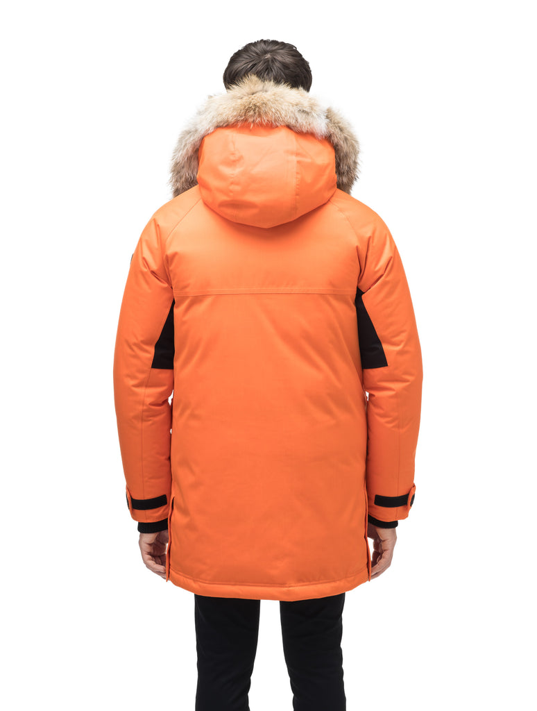 Men's thigh length down-filled parka with removable hood and removable coyote fur trim in Atomic| color