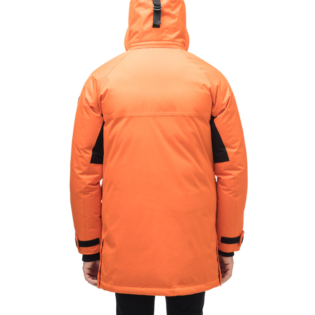 Men's thigh length down-filled parka with removable hood and removable coyote fur trim in Atomic | color