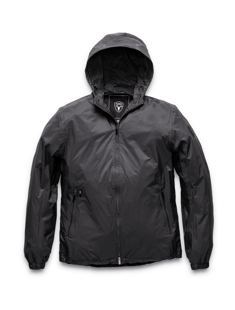 Men's waist length zip up hooded windproof jacket in Black| color