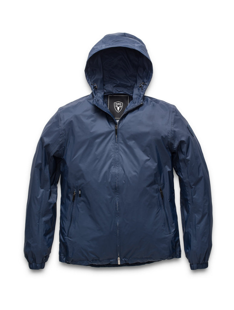 Men's waist length zip up hooded windproof jacket in Marine| color