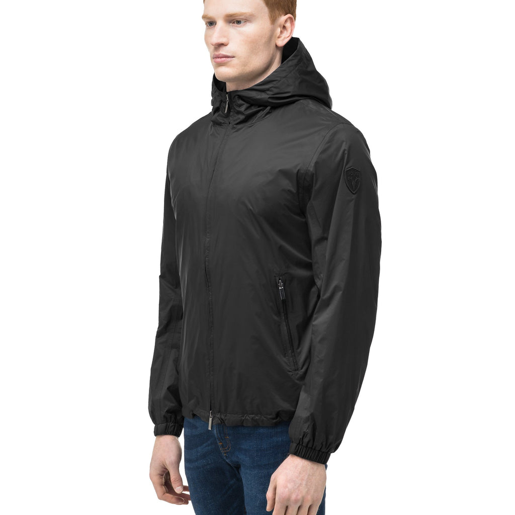 Men's waist length zip up hooded windproof jacket in Black | color