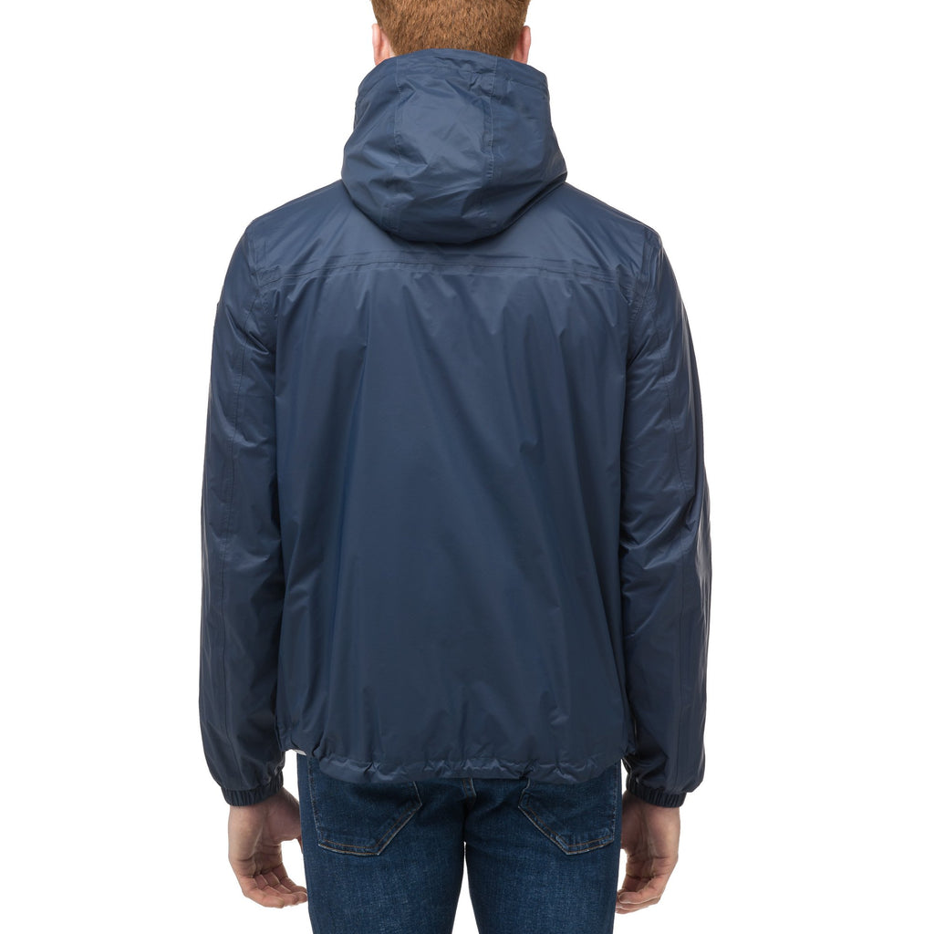 Men's waist length zip up hooded windproof jacket in Marine | color