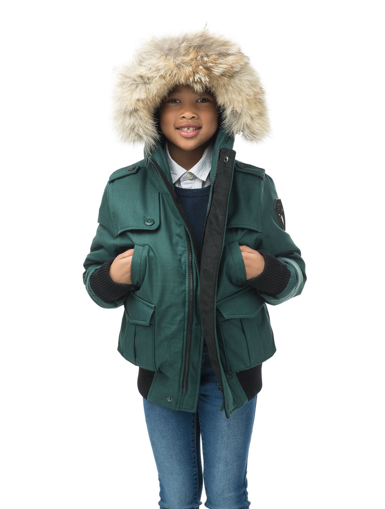 Kid's waist length down bomber jacket with fur trim hood in CH Forest| color