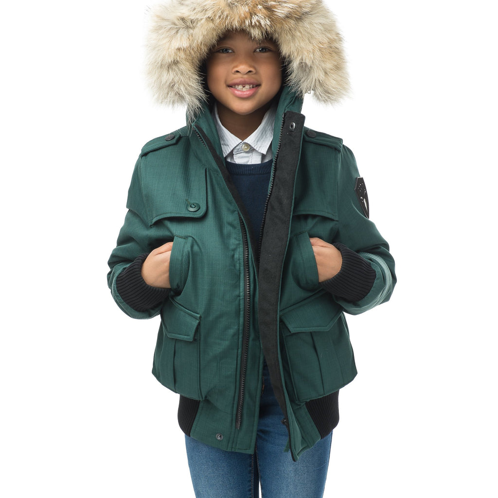 Kid's waist length down bomber jacket with fur trim hood in CH Forest | color