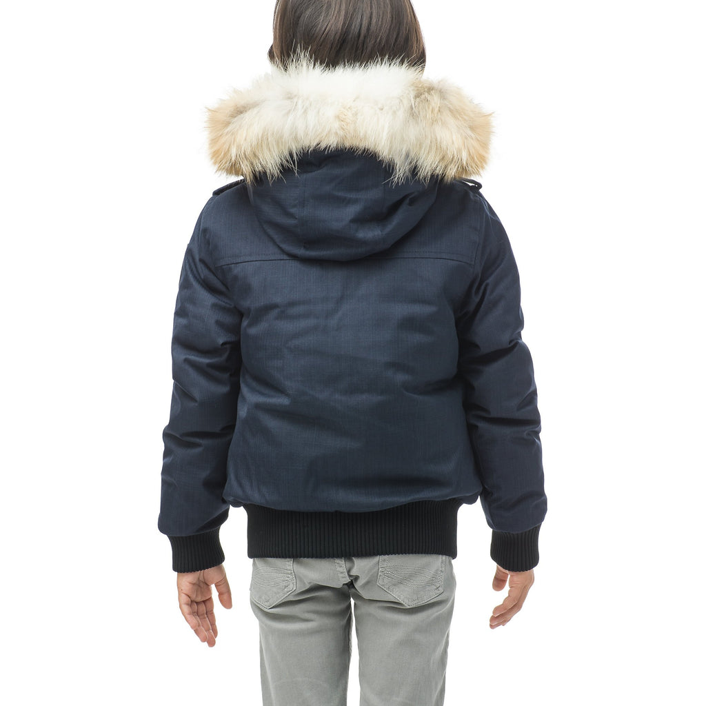 Kid's waist length down bomber jacket with fur trim hood in CH Navy | color
