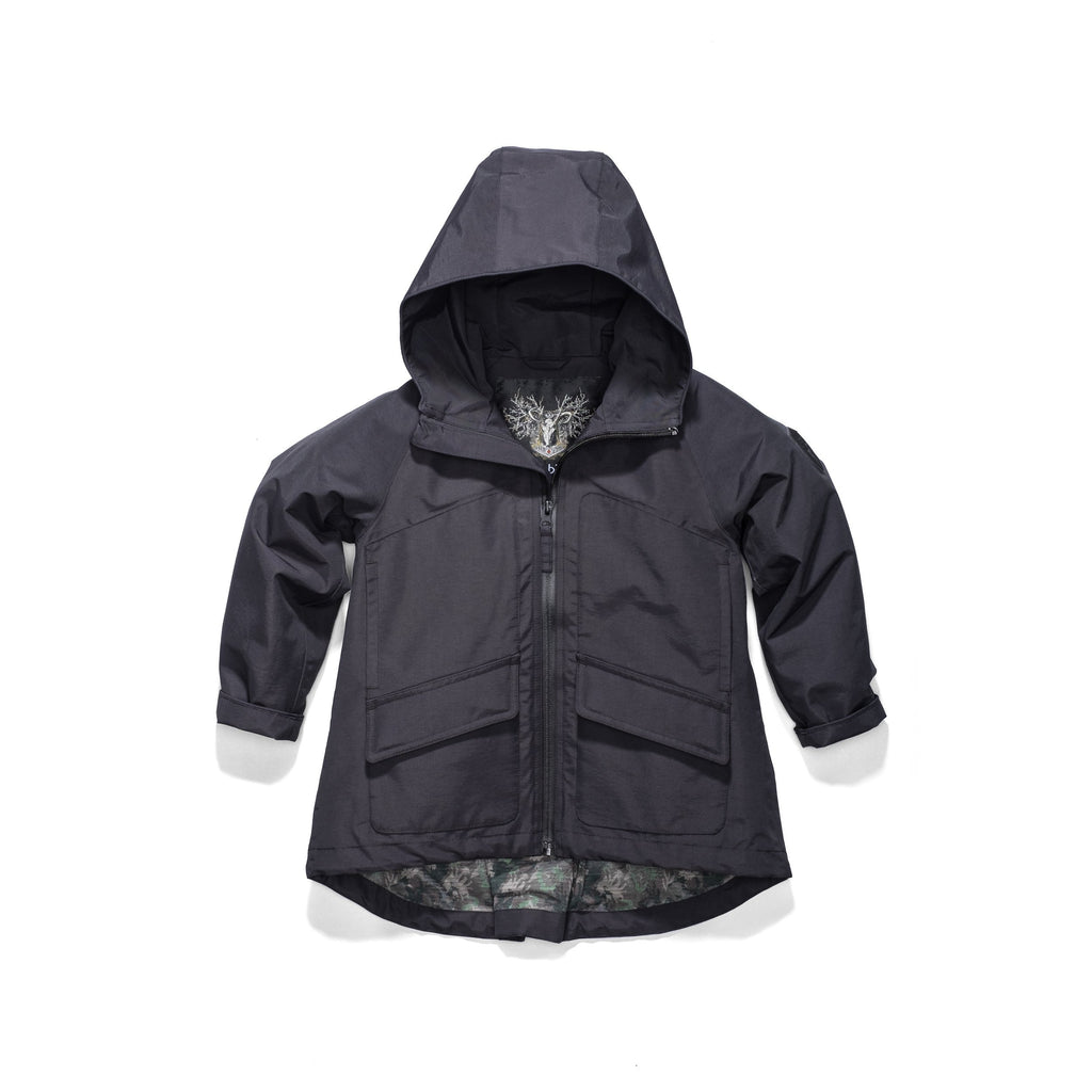 Kid's hip length fishtail rain jacket with hood in Black | color
