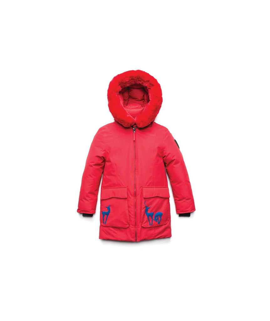 Kid's knee length down filled parka with deer applique detailing on the front patch pockets in Cy Red| color