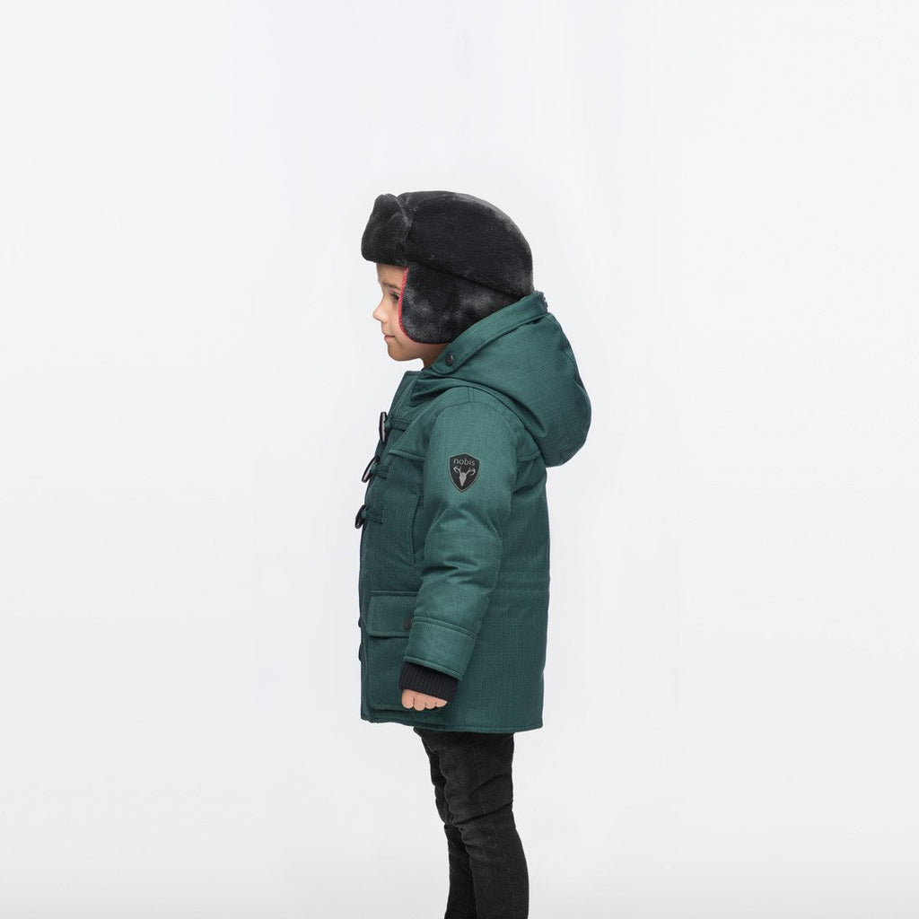 Kid's thigh high down coat with toggle closures in CH Forest | color