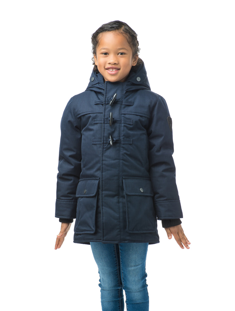 Kid's thigh high down coat with toggle closures in CH Navy| color