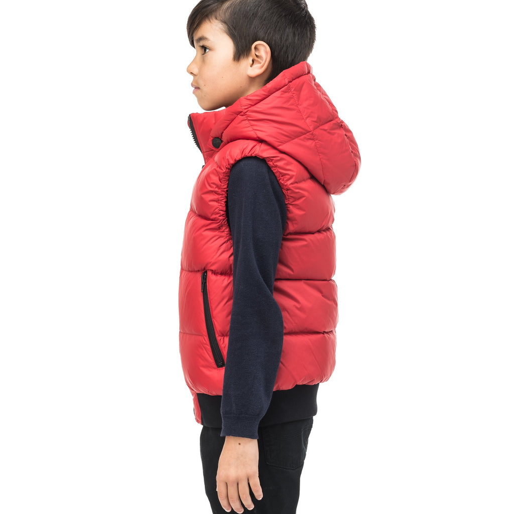 Sleeveless down filled kids vest with a hood and contrast zipper details in Vermillion | color