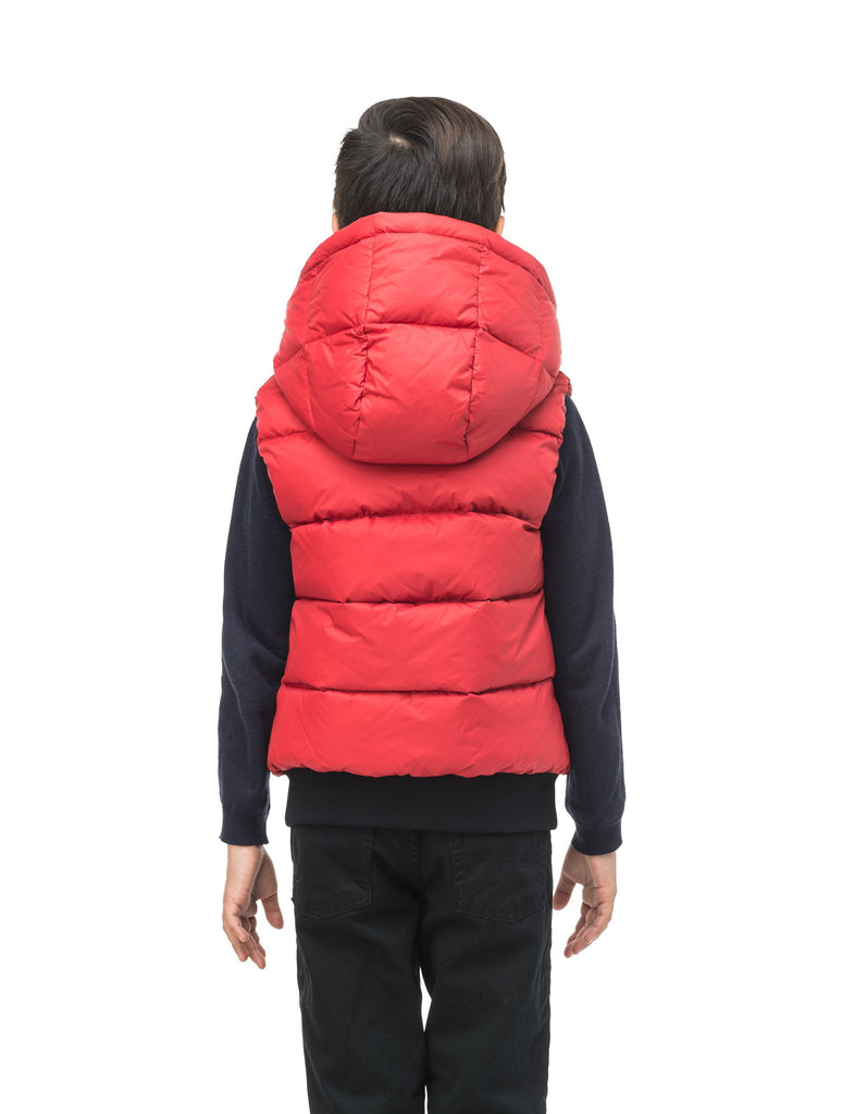 Sleeveless down filled kids vest with a hood and contrast zipper details in Vermillion| color