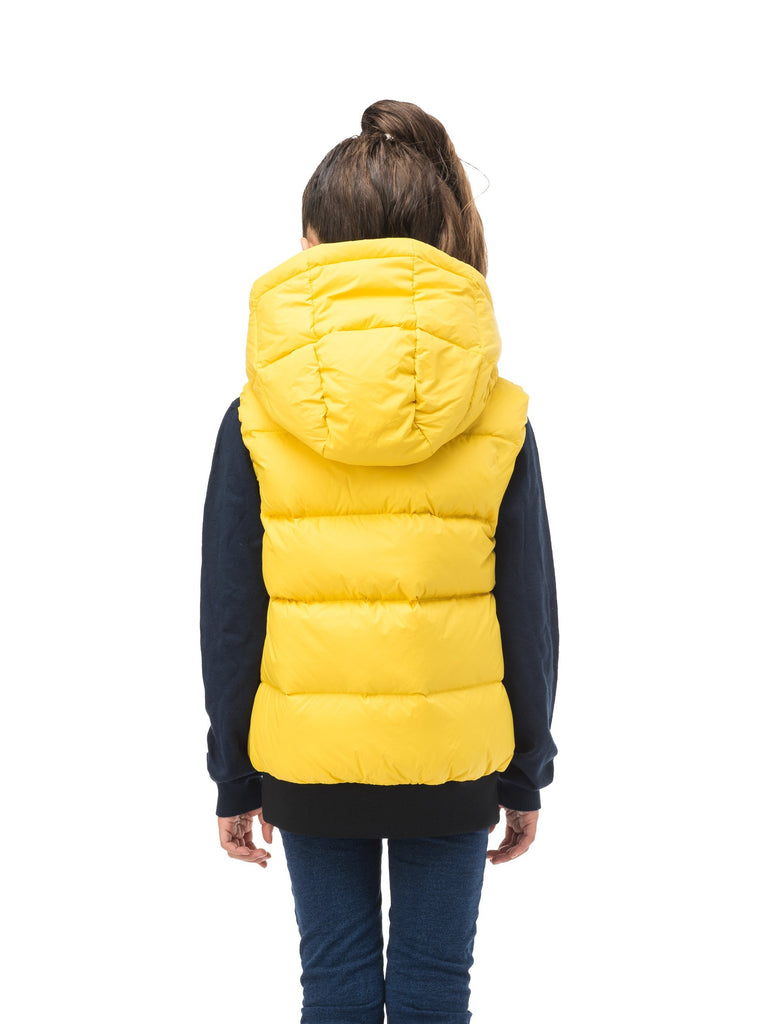 Sleeveless down filled kids vest with a hood and contrast zipper details in yellow Citron| color