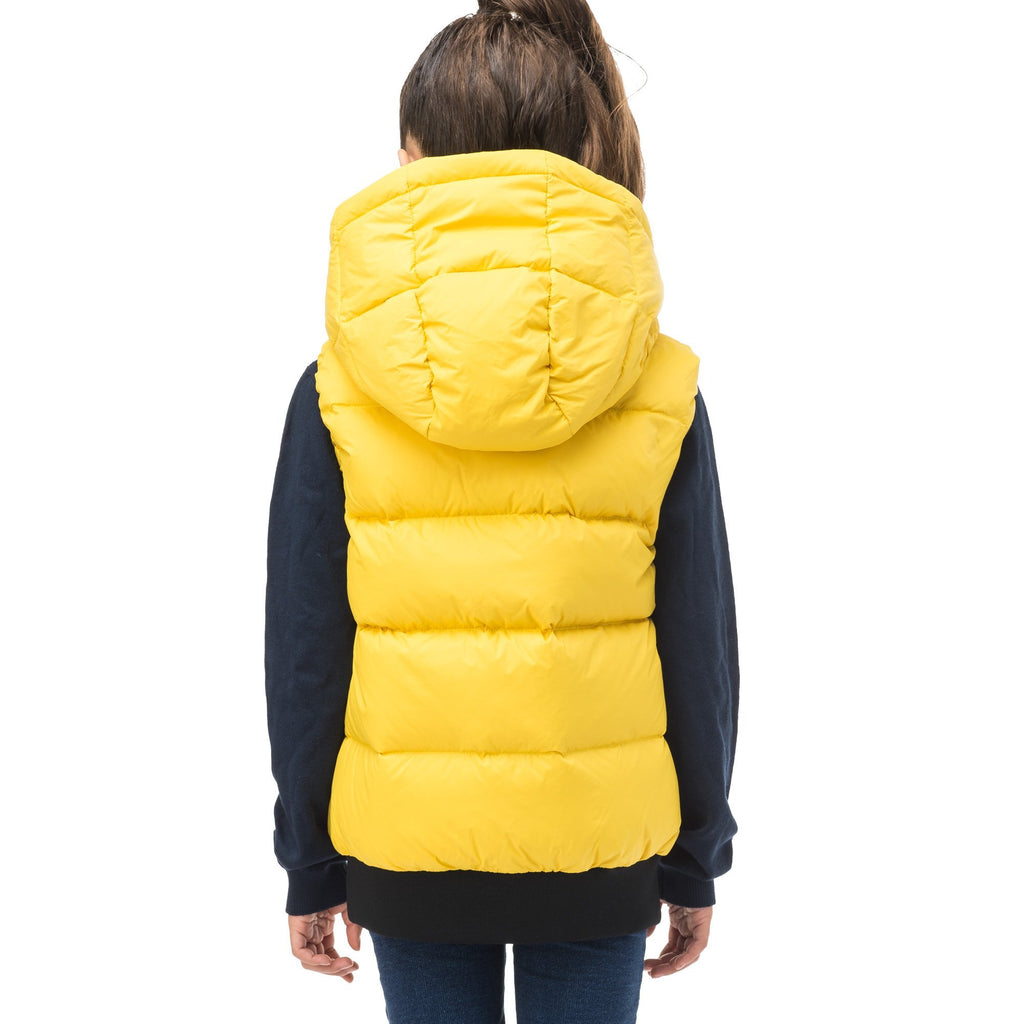Sleeveless down filled kids vest with a hood and contrast zipper details in yellow Citron | color