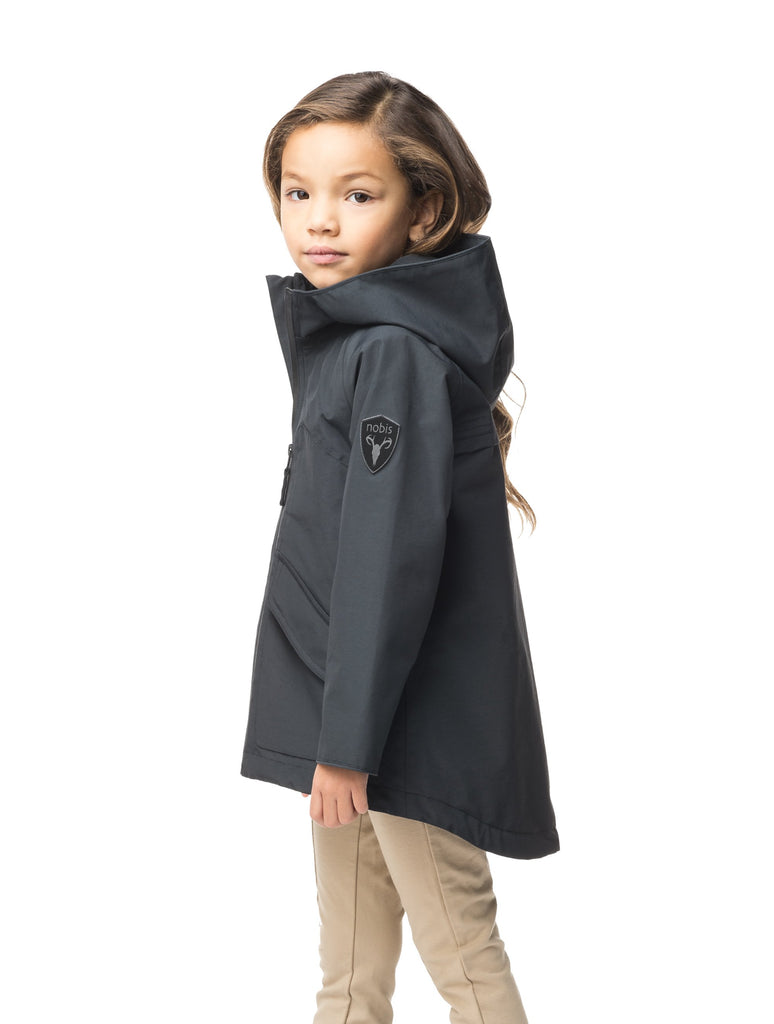 Kid's hip length fishtail rain jacket with hood in Black| color