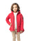 Kid's hip length fishtail rain jacket with hood in Red | color