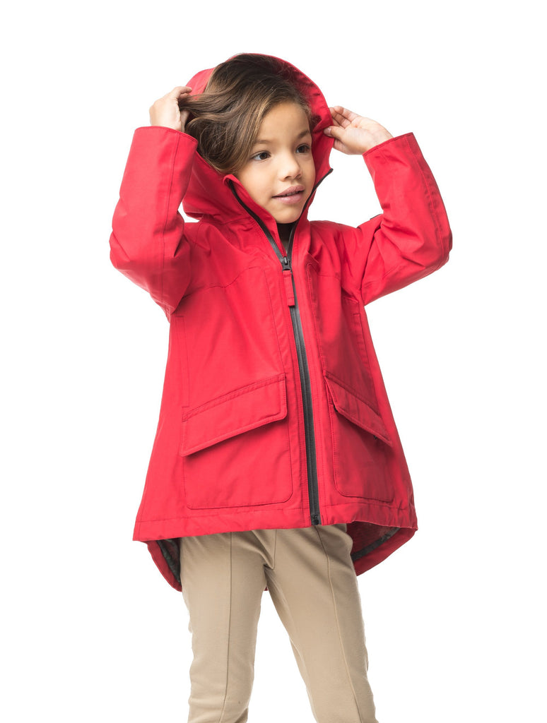 Kid's hip length fishtail rain jacket with hood in Red| color