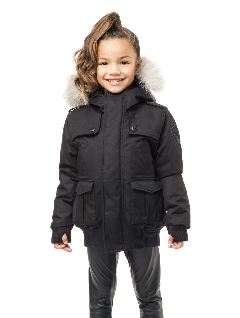 Kid's waist length down bomber jacket with fur trim hood in CH Black| color