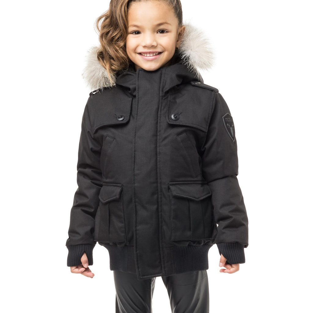Kid's waist length down bomber jacket with fur trim hood in CH Black | color
