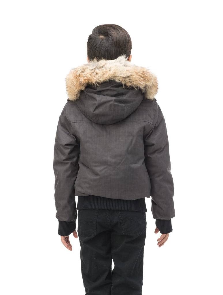 Kid's waist length down bomber jacket with fur trim hood in CH Steel Grey| color