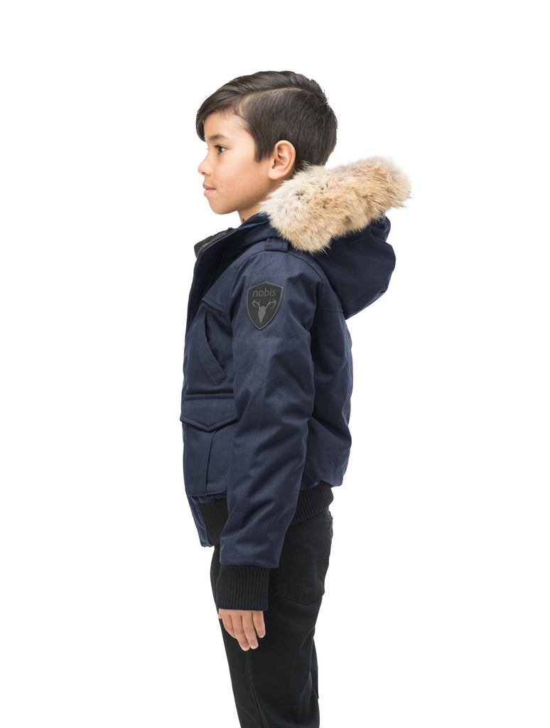 Kid's waist length down bomber jacket with fur trim hood in CH Navy| color