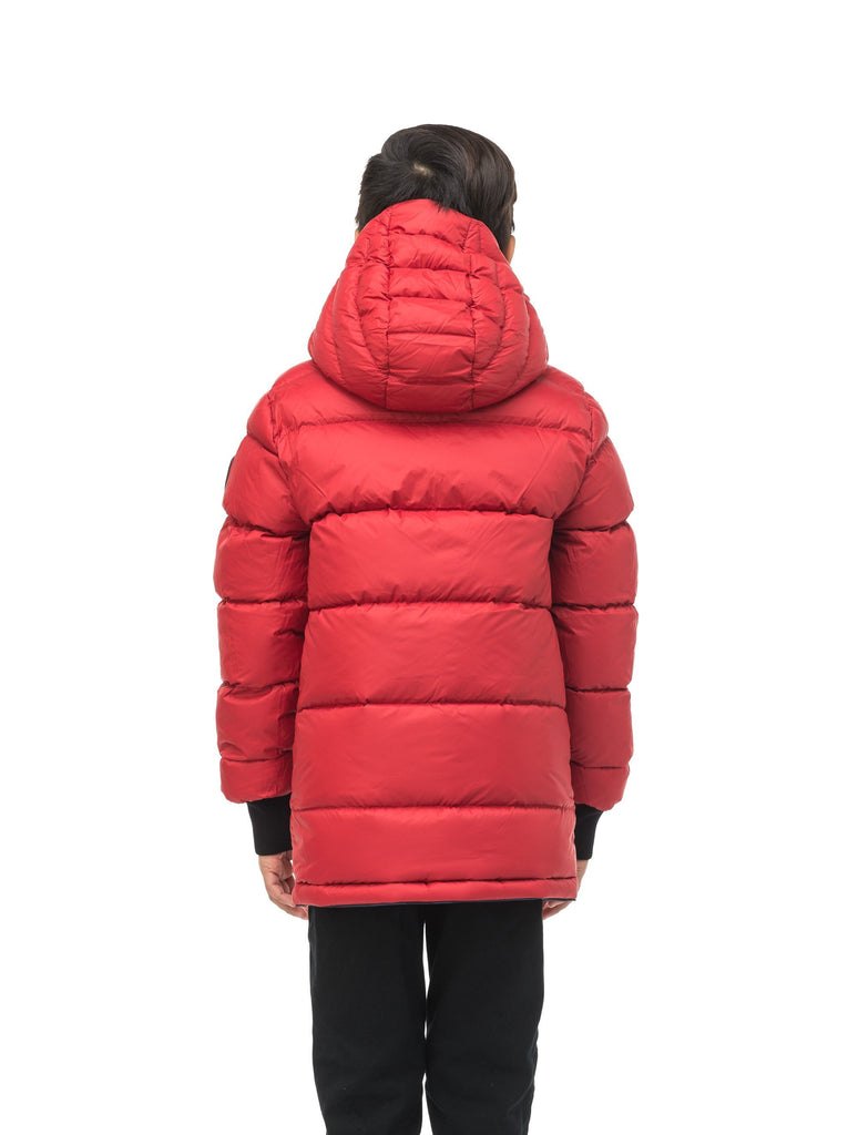 Kids' reversible knee length, down filled parka with waterproof finish in Navy Camo/Vermillion| color