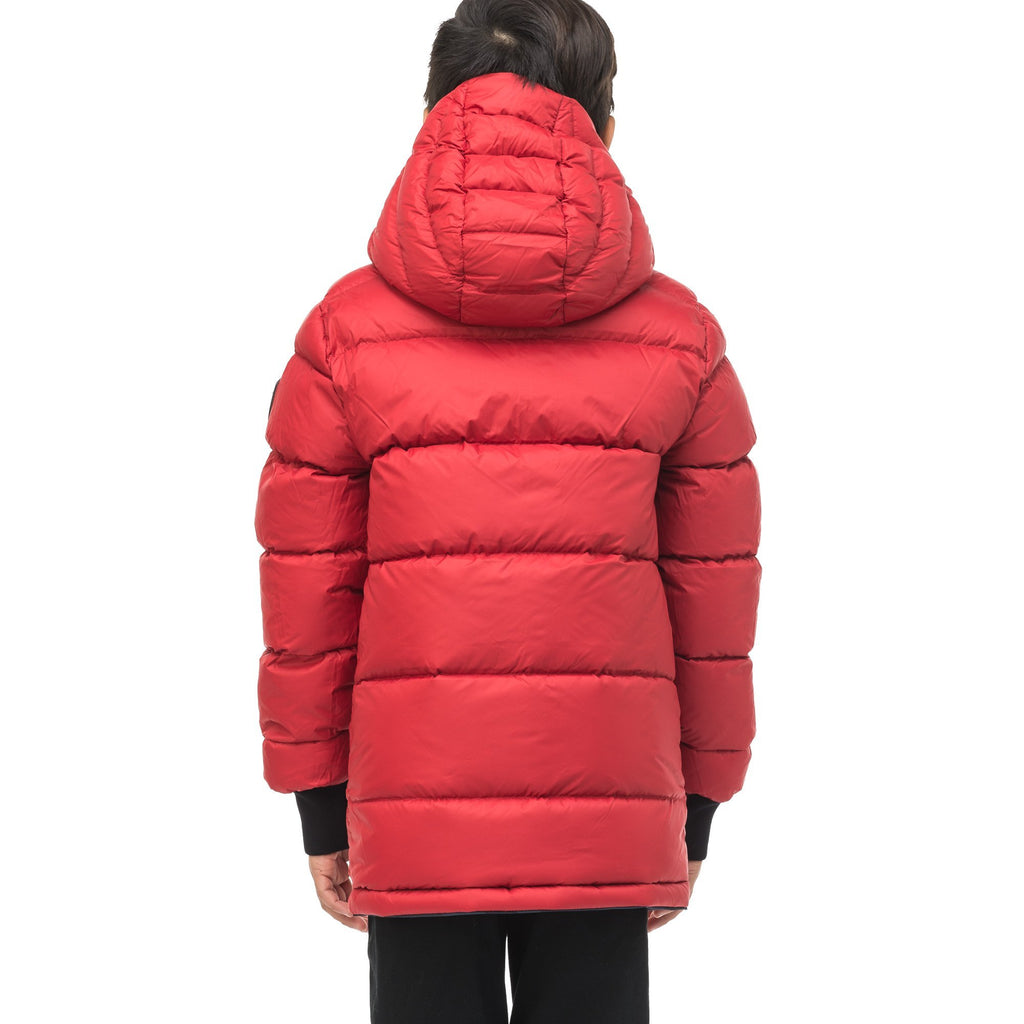 Kids' reversible knee length, down filled parka with waterproof finish in Navy Camo/Vermillion | color