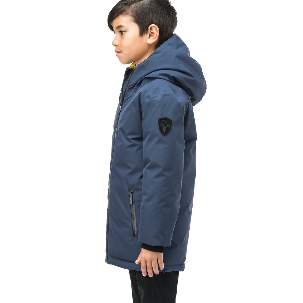 Kids' reversible knee length, down filled parka with waterproof finish in Marine/Citron | color