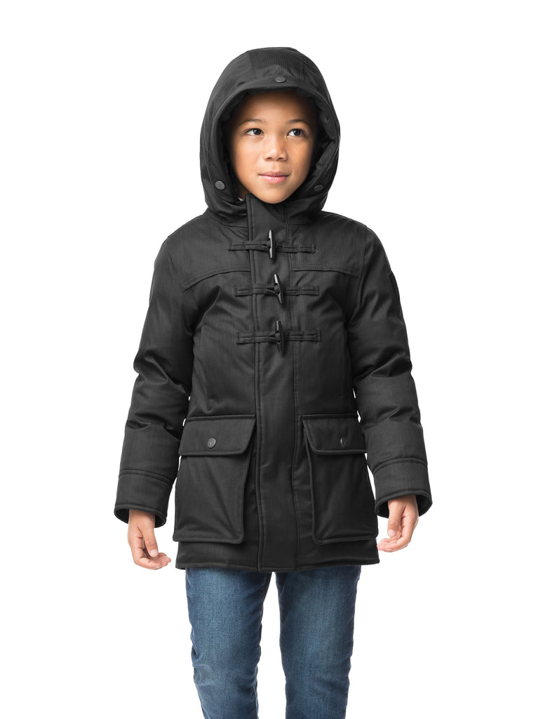 Kid's thigh high down coat with toggle closures in CH Black| color