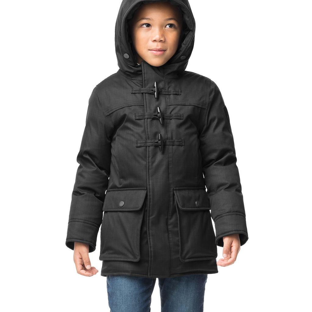 Kid's thigh high down coat with toggle closures in CH Black | color