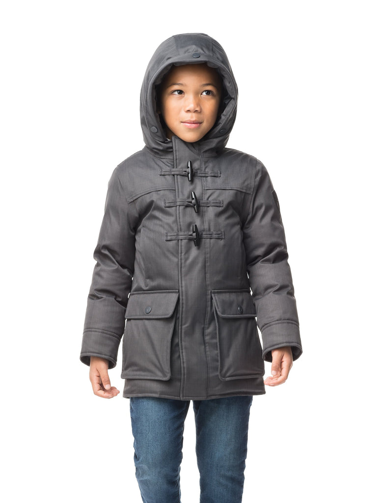 Kid's thigh high down coat with toggle closures in CH Steel Grey| color